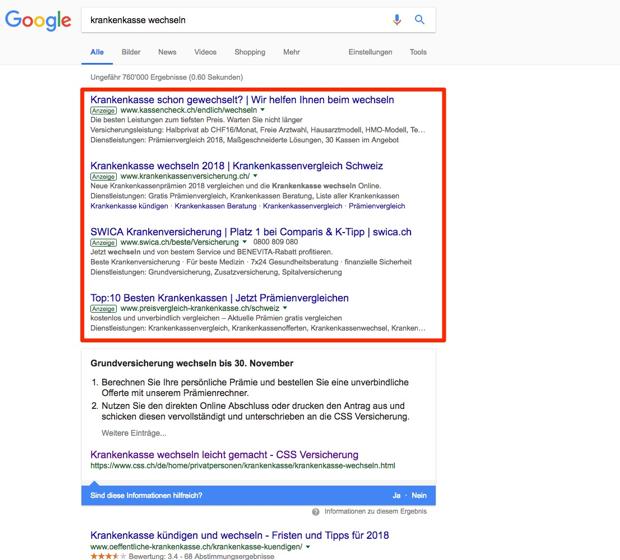 Google Ads Textanzeigen - Standout GmbH Luzern